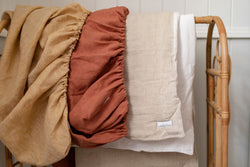 Terracotta 100% stone washed linen bassinet/ change table cover