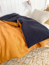 Stonewash mustard and stonewash navy 100% linen single quilt cover