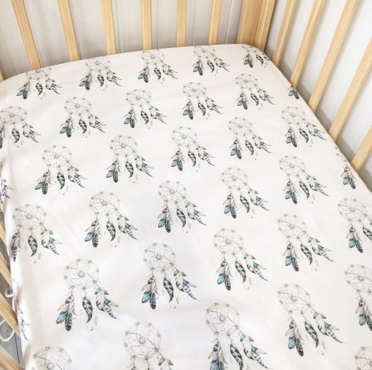 Blue dreamcatcher fitted cot sheet