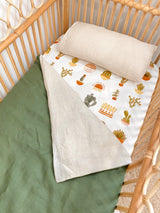 Forest green linen and stonewashed oatmeal linen cot quilt