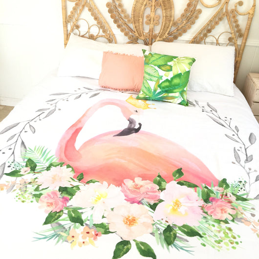Flamingo queen quilt cover