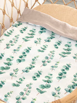 Eucalyptus with biscuit linen bassinet/ pram blanket