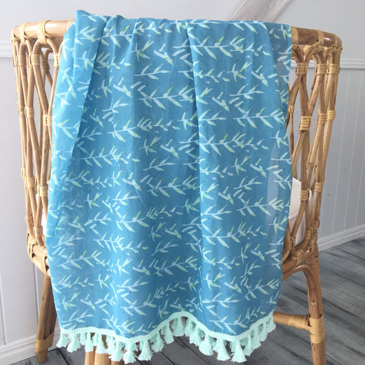 Teal/mint vines fringe wrap
