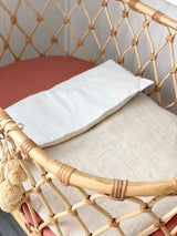 Oatmeal linen and white linen bassinet/pram blanket