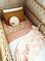 Vintage blush linen with white linen cot quilt