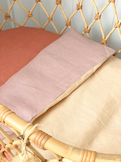 Musk linen and apricot linen bassinet/pram blanket