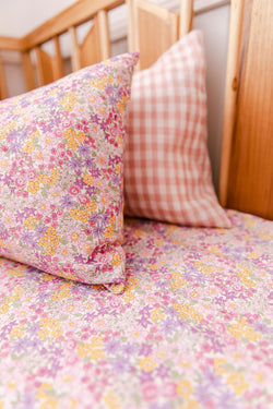 Pink/purple floral toddler pillowcase