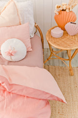 Blossom and peachy pink 100% linen single quilt cover
