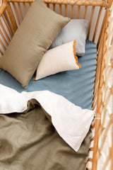 Sage linen with white linen cot quilt
