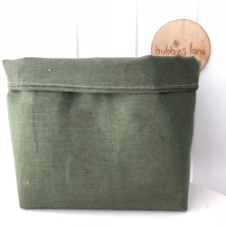 Forest green linen fabric basket