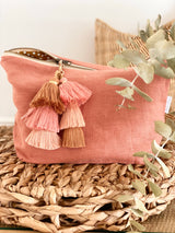 Terracotta linen nappy clutch