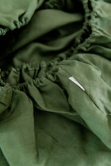Forest green 100% linen cot sheet