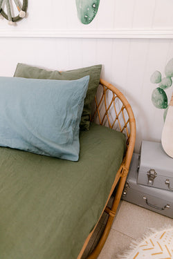 Khaki french linen single fitted sheet