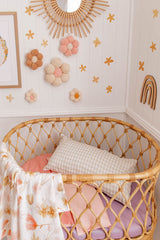 Blossom and peachy pink linen bassinet/pram blanket