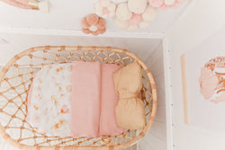 Peachy pink linen bassinet/ change table cover