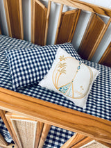 Navy gingham 100% linen bassinet sheet/ change table cover