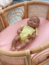 Peachy pink linen dolls bassinet sheet