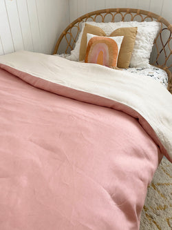 Vintage blush with bone 100% linen single quilt cover