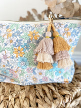 Blue/orange floral cord nappy clutch