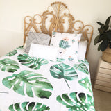 Monstera leaf queen quilt cover