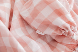Pink gingham linen single fitted sheet