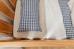 Navy gingham 100% linen toddler pillowcase