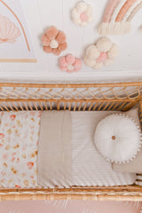 Ivory stripe linen fitted cot sheet