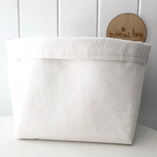 White linen fabric basket