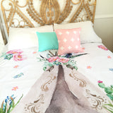 Pink floral teepee queen quilt cover