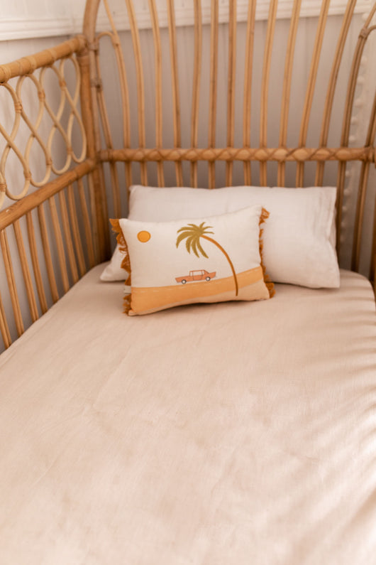 Bone 100% linen fitted cot sheet