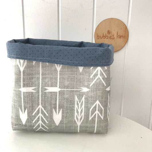 Grey arrows with navy cross fabric basket