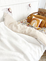 Bone and white 100% linen single quilt cover