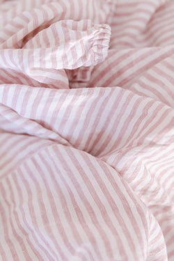 Pink stripe french linen single fitted sheet