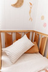Bone gingham 100% linen toddler pillowcase