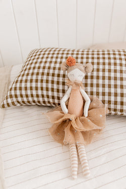 Olive gingham 100% linen toddler pillowcase