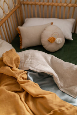 Bone linen with duck egg blue linen cot quilt