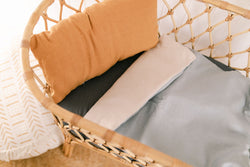 Duck egg blue and bone linen bassinet/pram blanket