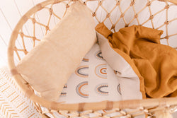 Mustard and bone linen bassinet/pram blanket