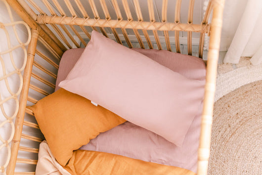 Dusty musk linen toddler pillowcase