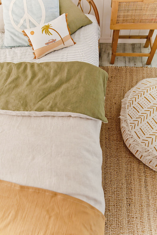 Sage linen with oatmeal linen cot quilt
