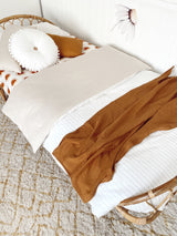 Ivory stripe linen with bone 100% linen single quilt cover