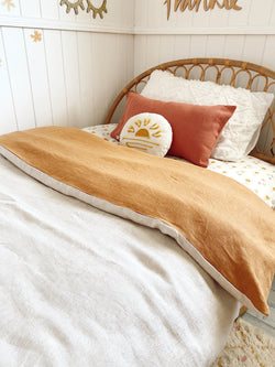 Stonewash mustard with stonewashed oatmeal 100% linen single quilt cover