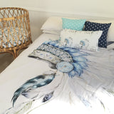 Blue Indian headdress queen quilt cover