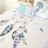 Blue and grey dreamcatcher double quilt cover
