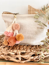 Oatmeal linen nappy clutch