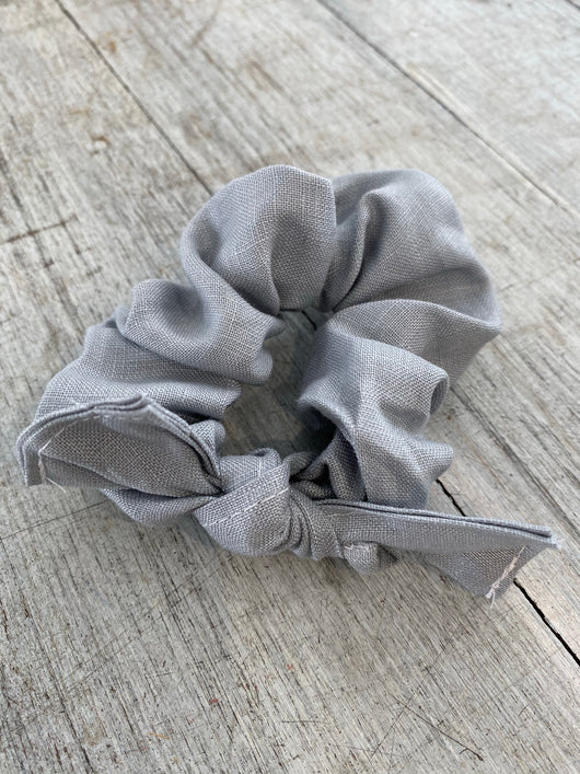 Duck egg blue linen scrunchie