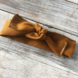 Ochre linen topknot headbands