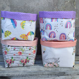Umbrella, rainbow, stripe floral, swan fabric basket