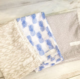 Grey tribal, royal blue pineapple, grey triangle, muslin wrap