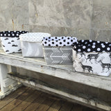 Black mountain, grey feather, grey arrow, black stag, batman and robin fabric basket